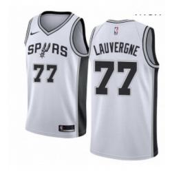Mens Nike San Antonio Spurs 77 Joffrey Lauvergne Authentic White Home NBA Jersey Association Edition