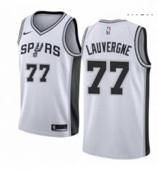 Mens Nike San Antonio Spurs 77 Joffrey Lauvergne Swingman White Home NBA Jersey Association Edition