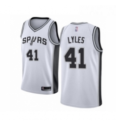 Mens San Antonio Spurs 41 Trey Lyles Authentic White Basketball Jersey Association Edition