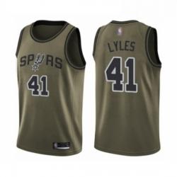 Mens San Antonio Spurs 41 Trey Lyles Swingman Green Salute to Service Basketball Jersey