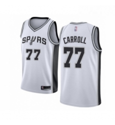 Mens San Antonio Spurs 77 DeMarre Carroll Authentic White Basketball Jersey Association Edition