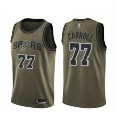 Mens San Antonio Spurs 77 DeMarre Carroll Swingman Green Salute to Service Basketball Jersey