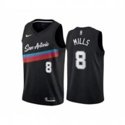 Men's San Antonio Spurs #8 Patty Mills Black City Edition Fiesta 2020-21 Stitched Basketball Jersey