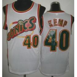 Seattle SuperSonics 40 Shawn Kemp White Throwback Revolution 30 NBA Jerseys