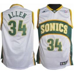 Seattle Supersonics 34 Ray Allen Soul Swingman Home White Jersey