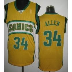 Seattle Supersonics 34 Ray Allen Yellow Revolution 30 NBA Jerseys