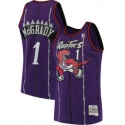 Men Raptors 1 Tracy Mcgrady purple Mitchell Ness Throwback Jersey