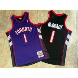 Men Toronto Raptors 1 Tracy McGrady Purple Black 1999 00 Hardwood Classics Jersey