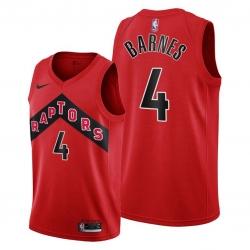 Men Toronto Raptors 4 Scottie Barnes Red Jersey