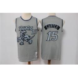 Men Toronto Raptors Vince Carter 15 Gray Hardwood Classic Michell&Ness Limited Jersey