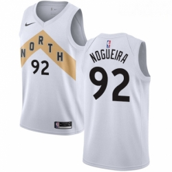 Mens Nike Toronto Raptors 92 Lucas Nogueira Swingman White NBA Jersey City Edition