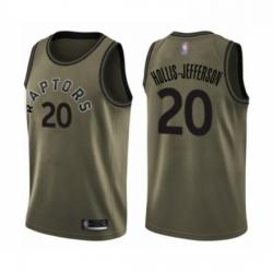 Mens Toronto Raptors 20 Rondae Hollis Jefferson Swingman Green Salute to Service Basketball Jersey