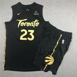 Raptors 23 Fred Vanvleet Black City Edition Nike Swingman Jersey 28With Shorts 29