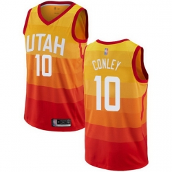 Jazz  10 Mike Conley Orange Basketball Swingman City Edition Jersey