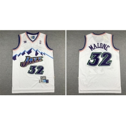 Jazz 32 Karl Malone White Hardwood Classics Jersey