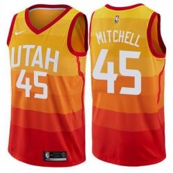 Jazz  45 Donovan Mitchell Orange Basketball Swingman City Edition 2019 20 Jersey