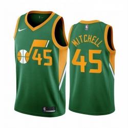 Men Utah Jazz 45 Donovan Mitchell Green NBA Swingman 2020 21 Earned Edition Jersey