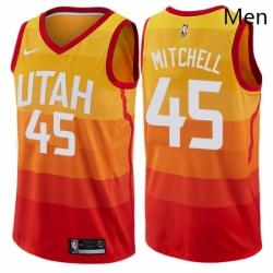 Mens Nike Utah Jazz 45 Donovan Mitchell Authentic Orange NBA Jersey City Edition