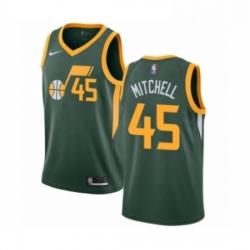 Mens Nike Utah Jazz 45 Donovan Mitchell Green Swingman Jersey Earned Edition