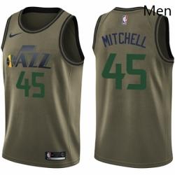 Mens Nike Utah Jazz 45 Donovan Mitchell Swingman Green Salute to Service NBA Jersey