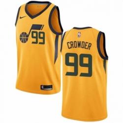 Mens Nike Utah Jazz 99 Jae Crowder Authentic Gold NBA Jersey Statement Edition