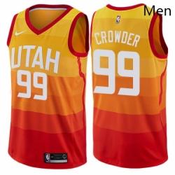 Mens Nike Utah Jazz 99 Jae Crowder Authentic Orange NBA Jersey City Edition