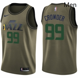 Mens Nike Utah Jazz 99 Jae Crowder Swingman Green Salute to Service NBA Jersey