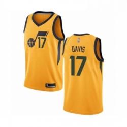 Mens Utah Jazz 17 Ed Davis Authentic Gold Basketball Jersey Statement Edition