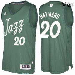 Mens Utah Jazz 20 Gordon Hayward adidas Green 2016 2017 Christmas Day NBA Swingman Jersey