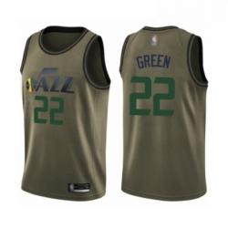 Mens Utah Jazz 22 Jeff Green Swingman Green Salute to Service Basketball Jersey