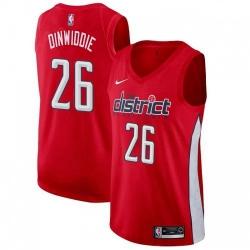 Men Nike Washington Wizards 26 Spencer Dinwiddie Red NBA Swingman Earned Edition Jersey