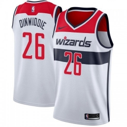 Men Nike Washington Wizards 26 Spencer Dinwiddie White Association Edition NBA Swingman Jersey