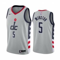 Men Nike Washington Wizards 5 Cassius Winston Gray NBA Swingman 2020 21 City Edition Jersey