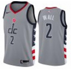 Men Nike Washington Wizards NBA John Wall City Grey Jersey