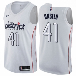 Mens Nike Washington Wizards 41 Wes Unseld Authentic White NBA Jersey City Edition
