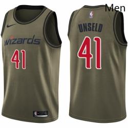 Mens Nike Washington Wizards 41 Wes Unseld Swingman Green Salute to Service NBA Jersey
