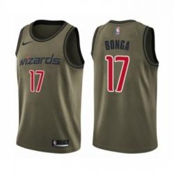 Mens Washington Wizards 17 Isaac Bonga Swingman Green Salute to Service Basketball Jersey