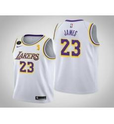 Men Los Angeles Lakers 23 LeBron James 2020 NBA Finals Champions Association White Jersey