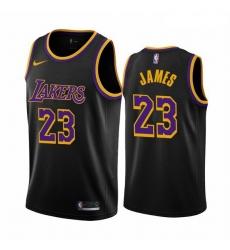 Men Los Angeles Lakers 23 LeBron James Black NBA Swingman 2020 21 Earned Edition Jersey