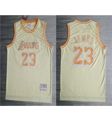 Men Los Angeles Lakers 23 LeBron James Gold Hardwood Classics Soul Throwback Limited Jersey