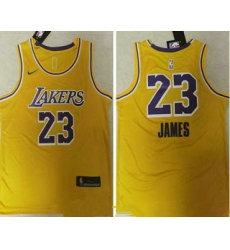 Men Los Angeles Lakers 23 LeBron James Yellow NEW 2021 Nike Swingman Stitched NBA Jersey_ u526F u672C