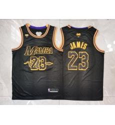 Men Los Angeles Lakers 23 Lebron James Black Mamba Swingman Jersey