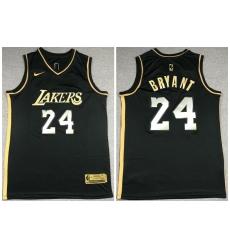 Men Los Angeles Lakers 24 Kobe Bryant Black Gold 2021 Nike Swin