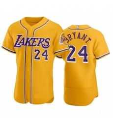 Men Los Angeles Lakers 24 Kobe Bryant Gold Baseball Style Flexbase Jersey