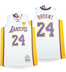 Men Los Angeles Lakers 24 Kobe Bryant White 2009 10 Throwback Jerseys
