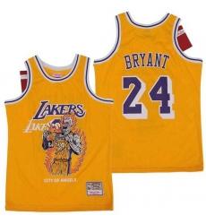 Men Los Angeles Lakers 24 Kobe Bryant Yellow Hardwood Classics Skull Edition Jersey