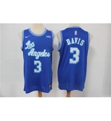 Men Los Angeles Lakers 3 Anthony Davis Blue 2021 Nike Swingman Jersey