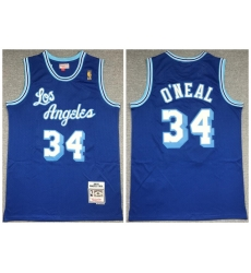 Men Los Angeles Lakers 34 Shaquille O 27Neal Blue 1996 97 Hardwood Classics Mesh Jersey