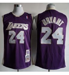 Men Los Angeles Lakers Kobe Bryant 24 Mitchell Ness Rice Purple NBA Jersey
