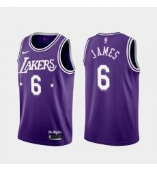 Men Los Angeles Lakers LeBron James #6 Jersey Purple City 2021-22